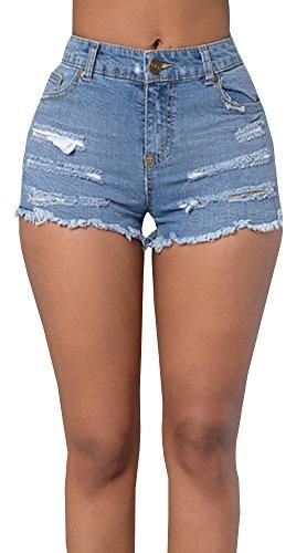 Baifern Women's High Waist Ripped Hole Wash Denim Shorts Wash Denim Cut Off Shorts