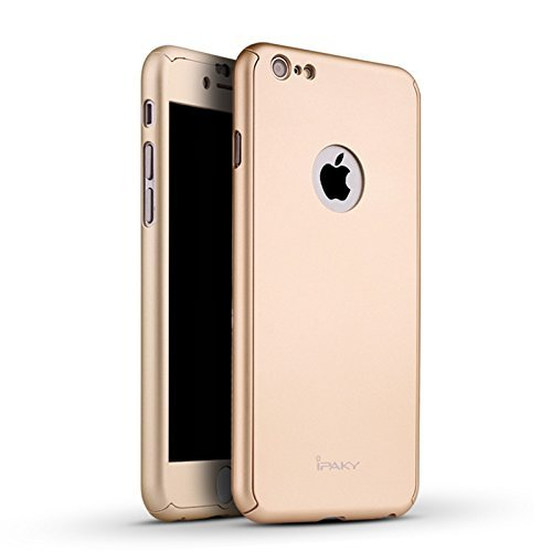 iPaky 360 Protective Body Case with Tempered Glass for Apple iPhone 6 Plus / 6S Plus – Gold