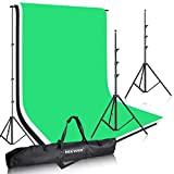 Neewer® 8.5ft X 10ft/2.6M X 3M Background Stand Support System with 5.25ft X 10.5ft/1.6M X 3.2M Non-Woven Backdrop(White,Black,Green)for Portrait,Product Photography and Video Shooting