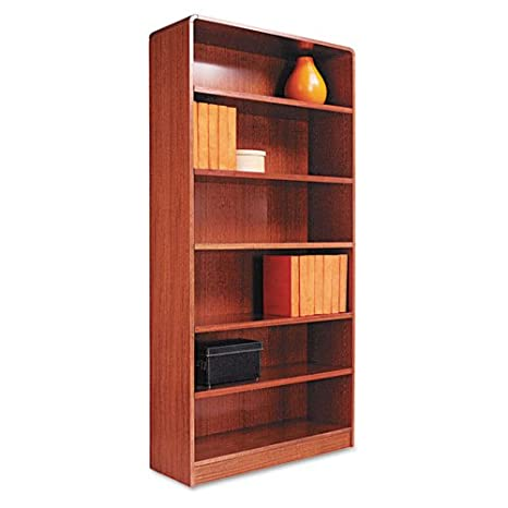 Alera® - Radius Corner Wood Veneer Bookcase, 6-Shelf, 35-3/8w x 11-3/4d x 72h, Medium Oak - Sold As 1 Each - Rich wood veneer bookcases with fully-finished backs.