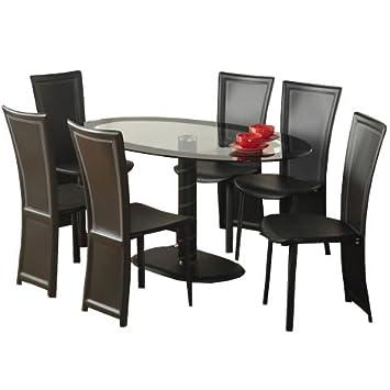 WorldStores Cameo Ovaler Esstisch mit 4 Stuhlen, Set, Schwarz / Glas