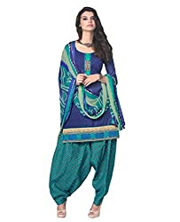 Desi By Design Women's Cotton Unstitched Dress Material (Jasmine-2016_Blue_Free Size)