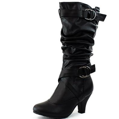 Amazon.com: Women's Lala-02 Buckle Straps Low Heel Casual Trendy Round