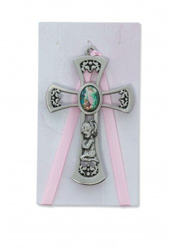 Pewter Pink Crib Cross with Card for Baby Girls