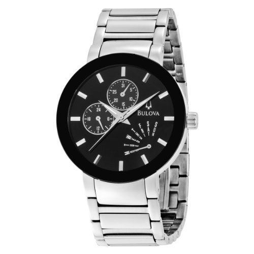 Bulova Men's 96C105 Silver Stainless-Steel Quartz Watch with Black Dial