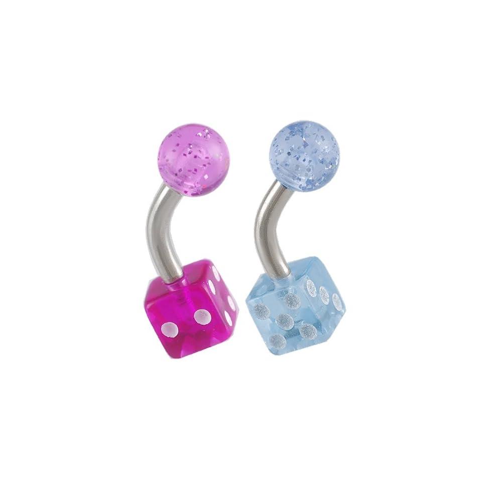 14g 14 gauge 1/4 Steel eyebrow lip ear tragus ring curve barbell straight bar acrylic dice purple blue lot AIJH 2Pcs