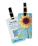GoCodes Smart QR Bar Code Luggage Tag - Summer Sunflower One Size