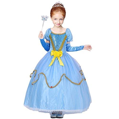 GenialES Costume Blu Principessa Di Vestito Lungo Lindo con Maniche, Per Bambini Per Compleanno Fiesta Cosplay Taglia 3-10 Anni blu L