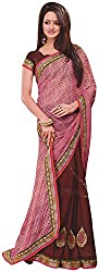 Ambica Lavnya Women's Chiffon And Marble Saree (Ambica Ibiza 3208_1, Dark Brown, Light Pink Colour)