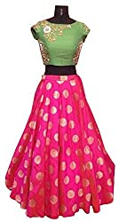 Fotoablearc Women's Banglory Silk Anarkali Suit Dress Material Lehenga Choli(Style_Bollywood Designer Lehenga Choli/partywear lehenga choli for women_PinkAndGreenColour_leh New_FreeSize)