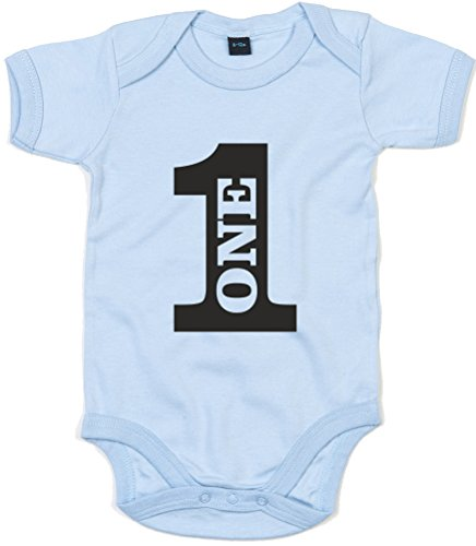 One, Birthday, Printed Baby Grow - Dusty Blue/Black 12-18 Months front-96145
