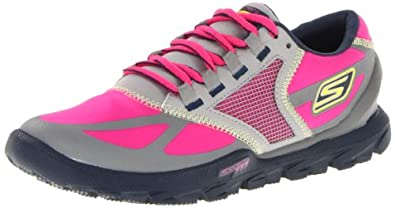 Skechers Women's Go Trail Running Shoe,Grey/Hot Pink,5 M US