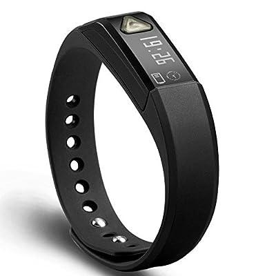 EFO-S BLACK K5 Wireless Activity and Sleep Monitor Pedometer Smart Fitness Tracker Wristband Watch Bracelet for Men Women Boys Girls Ladies Man iPhone 6 Plus 5S 5C 5 4S, iPad Air, mini, Galaxy S6 S5 S4 S3, Note 4 3 2, Tab 4 3 2 Pro, Nexus 4 5 7 10, HTC On