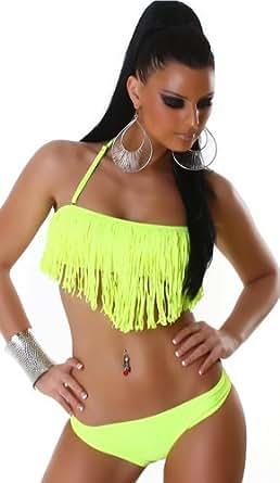 PF-Fashion - Bikini, haut de maillot à franges et bonnets rembourrés - Femme - Jaune fluo, 38/40 (Bonnets A/B-C)