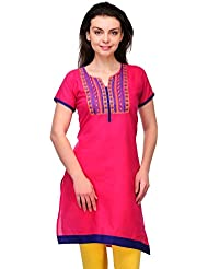 AngelFab Pink Color Cotton Fabric Women's Straight Kurti