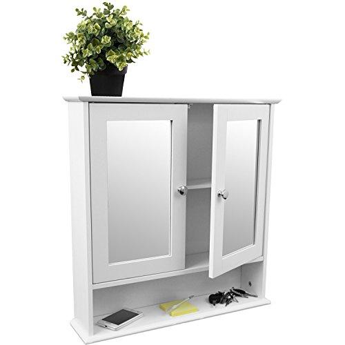 Wandschrank-mit-Spiegel-und-Ablage-56x13x58cm-Badschrank-Spiegelschrank-Hngeschrank-fr-Bad-Flur-und-Kche-Wei