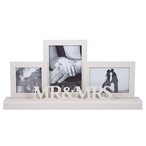 Roman Inc. Wedding Day Mr. & Mrs. Three Frame Plaque -- Holds 4x4, 5x7, & 4x6 Photos