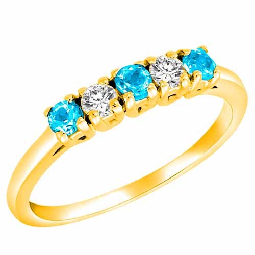Ryan Jonathan 14K Gold Round 5 Stone Diamond and Blue Topaz Band Ring (2/5 cttw)