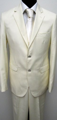 MUGA mens Suit elegant, Slim-line, Light Beige, Size 38R (EU 48)