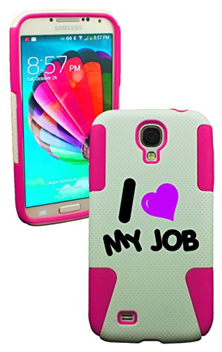 Phonetatoos (Tm) Fo Rgalaxy S4 I Love My Job Plastic & Silicone Case (Pink)-Lifetime Warranty