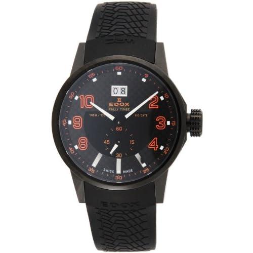 [エドックス]EDOX 腕時計 WRC ブラック文字盤 ステンレス(BKPVD)ケース ウレタンベルト 100M防水 64008-37N-NOR メンズ 【並行輸入品】