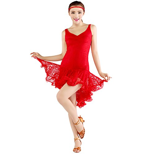 [FERE8890 Women's Dancewear Fashions Competition Ballroom Sexy Dancing Latin Dress Red L] (Dance Costumes For Praise And Worship)