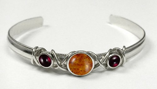 Sterling Silver Hand Made Cuff with Genuine Amber Accented with Garnet