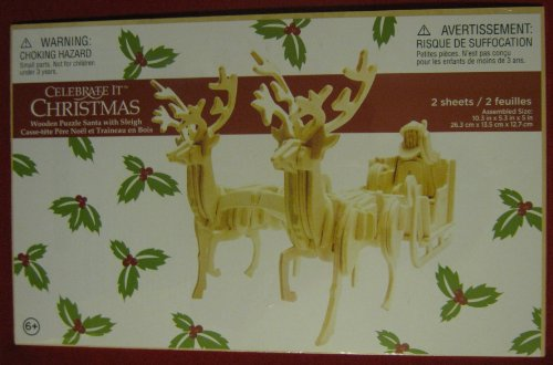 """Celebrate It Christmas Wooden Puzzle """"Santa with Sleigh"""""""