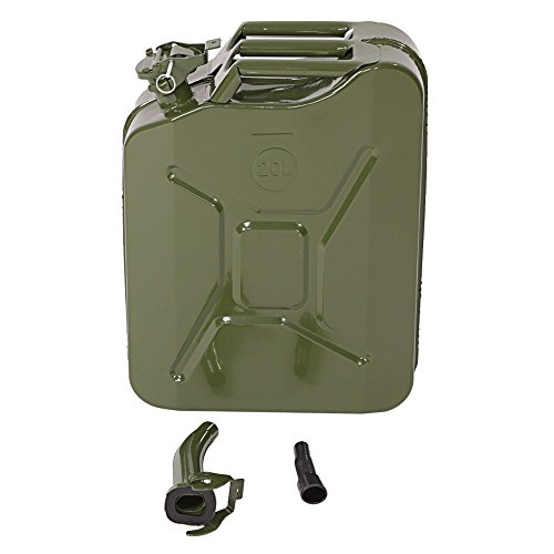 FCH® Jerry Can, 5 Gallon 20L Portable Oil Fuel Gas Gasoline Steel Tank Water Petrol Diesel Storage Can (Army Green)