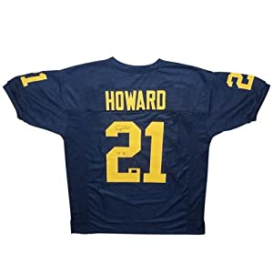 Desmond Howard Autographed Michigan Wolverines (Blue #21) Custom Jersey w  91 Heisman by PalmBeachAutographs.com