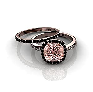 3.00 carat Morganite and Black diamond Halo Bridal Set in 10k Rose Gold