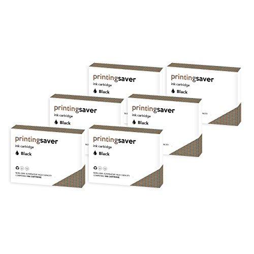 Printing Saver T1291 SCHWARZ (6) Tintenpatronen fur EPSON Stylus SX235W, SX420W, SX425W, SX435W, SX445W, SX525WD, SX535WD, SX620FW and Office B42WD, BX305F, BX305FW, BX305FW Plus, BX320FW, BX525WD, BX535WD, BX625FWD, BX630FW, BX635FWD, BX925FWD, BX935FWD and WorkForce WF-7015, WF-7515, WF-7525 drucker - Kompatibler Ersatz 79XL