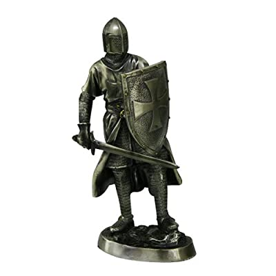 """Medieval Crusader Knight Statue Bronze Finishing Cold Cast Resin Statue 7"""" (9960)"""