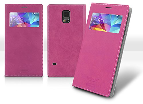 Note3 View Flip Case, Samsung Galaxy Note 3 Soft Leather Cover, 9 Colors - Retail Packaging (Pink) front-51011