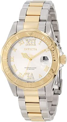 Invicta Women's 12852 Pro Diver Gold Dial Two Tone Watch with Crystal Accents from Invicta