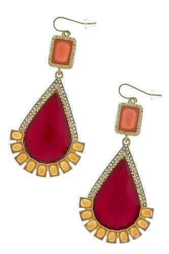 Trendy Fashion Jewelry Crystal Teardrop Cut Jewel Earrings By Fashion Destination | (Red)