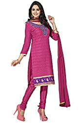 Manvaa Nemesis Pink Semi-Cotton Embroidered Dress Material-KNH30003