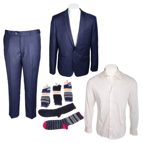 Bundle Mens 2 pack PV Suit, Fila Long Sleeve Shirt & F&L 15 pack Block Stripe Socks in Size Small