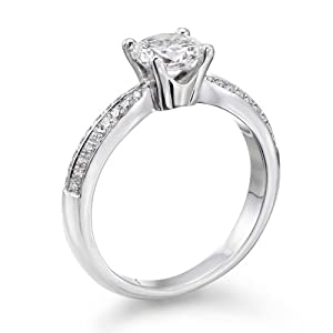 Certified, Round Cut, Solitaire Diamond Ring in 14K Gold / White (3/4 ct, E Color, VS2 Clarity)
