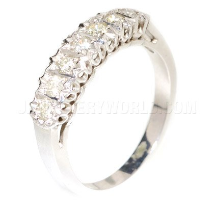 0.50ct Diamond 18ct White Gold 7 Stone Bordered Half Eternity Ring