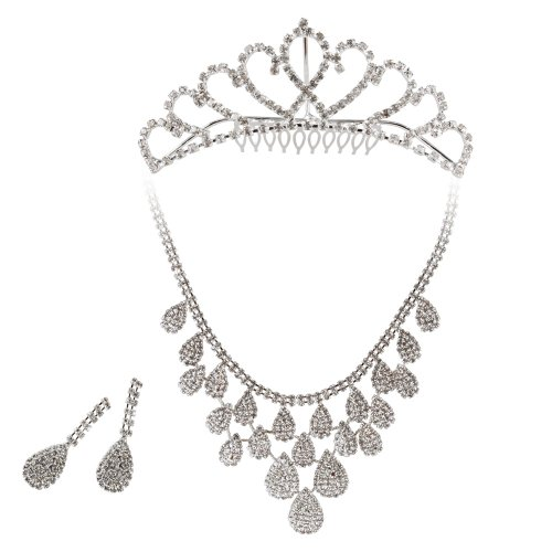 BMC 3pc Womens Elegant Rhinestone Fashion Bridal Wedding Necklace, Earring, Tiara Prom Pageant Jewelry Set - Various Styles, Countess Collection