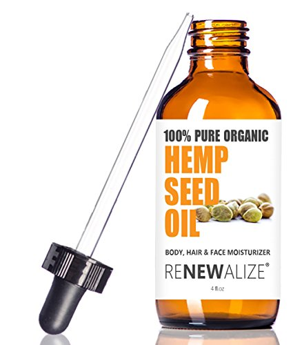Organic HEMP SEED OIL by Renewalize in LARGE 4 OZ. DARK GLASS BOTTLE with Glass Eye Dropper | Highest Quality 100% Pure Cold Pressed and Unrefined | Great Daily Skin Moisturizer for All Skin Types