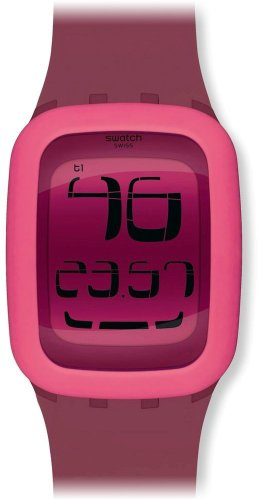 Swatch Men's Digital SURP102 Pink Silicone Swiss Quartz Watch with Digital Dial (Swatch Watch Digital compare prices)