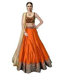 Astha fashion Orange banglore silk bridal semi sttiched lehenga choli