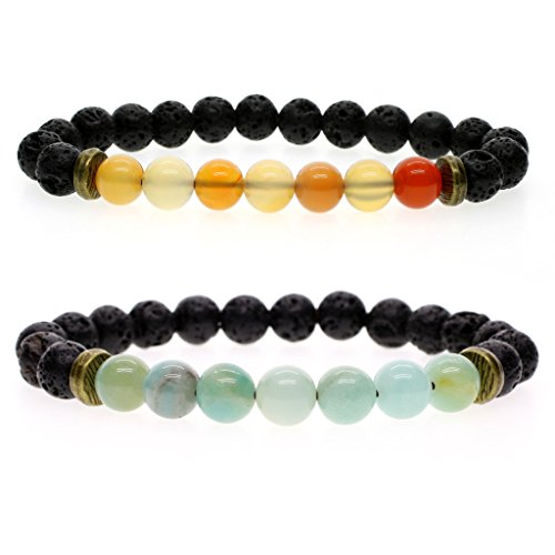 AmorWing 8mm Natural Stone Lava Beads for Essential Oil With Amazonite/Agate Bracelet (2 Pack) M