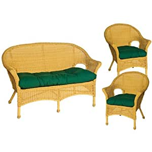 hela outdoor green wicker chair and love seat cushions