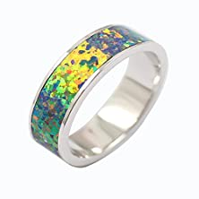 buy Sterling Silver Eternity Ring 6.5Mm Yellow Fire Opal Stackable Wide Band Plain Comfort Fit