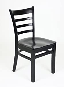 Ladder Back Style Dining Chair Black Stain