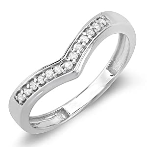 0.15 Carat (ctw) Sterling Silver Round Real Diamond Wedding Stackable Band Guard Chevron Ring (Size 4)