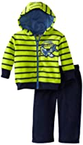 Little Rebels Baby-boys Infant 2 Piece Stripped Airplane Jacket Hood And Pant, Green, 12 Months